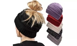 Fashion Ponytail Messy Bun BeanieTail Solid Ribbed Hat For Women