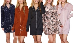 Doublju Women's Long Sleeve Button Down Pajama Sleepshirts Dress