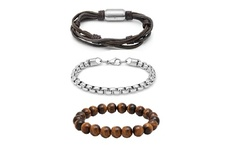 Men's Stainless Steel and Leather Bracelet Set Of 3