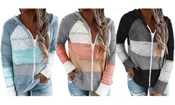 Women's Color Block Hoodies Tunics Casual Hollow Out Long Sleeve Tops Jacket