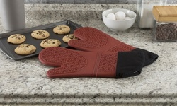 Silicone Oven Mitts - Extra Long Professional Quality Heat Resistant w/ Lining