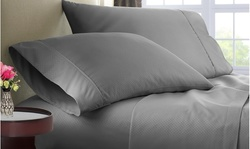 Luxury Home Microfiber Checker Embossed Bed Sheet Set (4-Piece)