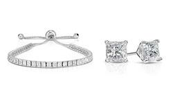 Set of 2 Swarovski Crystal Princess Cut Adjustable Tennis Bracelet & Earring Set