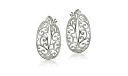 Sterling Silver High Polished Filigree Hoop Earrings