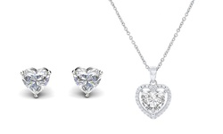 Luxe Heart Pendant and Stud Earrings Set by Elements Of Love (2 Pack)