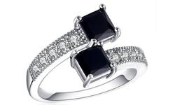 Leo Rosi Priness Cut Black Gem Ring for Women