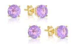 Genuine Gemstone Amethyst Stud Earrings in 14K Gold (1 Pair or 2 Pair)
