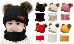 2Pcs Baby Toddler Warm Knit Beanie Hat with Plush Scarf Set for Kids Boys Girls