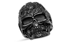 Men's Stainless Steel And Black Ip Skull Ring