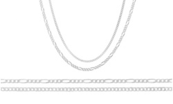 Solid Italian Curb and Figaro Chain Set in Sterling Silver(2 Pack)