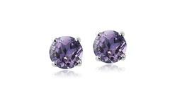 Amethyst February Birthstone Stud Earrings in Silver Made w/ Swarovski Crystal