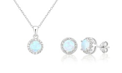 Opal and Cubic Zirconia Pendant and Earring Set or Separates by L'Artiste