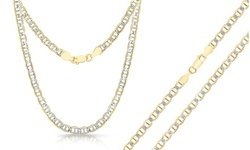 Italian 4.40MM Two Tone Mariner Chains in Sterling Silver