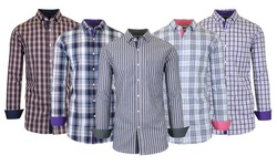 Men's Long Sleeve Slim-Fit Printed Plaid Dress Shirts With Chest Pocket (S-2XL)