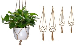 2Pcs Plant Hanger Basket Outdoor Vintage Rope Pot Holder Flower Garden