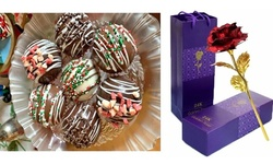 Valentines Six Hot Chocolate Cocoa Bombs With 24K Rose