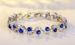 Leo Rosi Blue Sapphire Bracelet in 18K White Gold Filled for Women