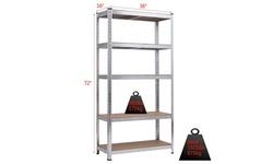"71"" Heavy Duty Storage Shelf Steel Metal Garage Rack 5 Level Adjustable Shelves"