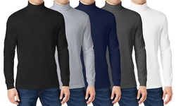 (3-Pack) Men's Long Sleeve Turtle Neck T-Shirt (Sizes, S to 2XL)