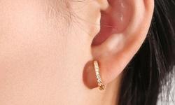 18k Huggie Earrings Made with Swarovski Crystal