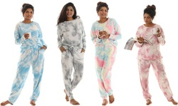 Women's Tie Dye Two Piece Lounge Top and Jogger Pants Set (also  in Plus Sizes)