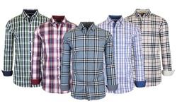 Galaxy By Harvic Men's Long Sleeve Slim-Fit Cotton-Stretch Plaid Dress Shirts