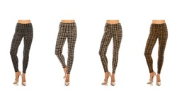 LA12ST Women's Stretchy Plaid Checker Leggings