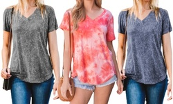 Women's V-Neck Stone Wash Relaxed Tee. Plus Sizes Available