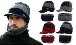 Winter Warm Knit Visor Beanie Hats Fleece Lined Scarf Ski Brim Caps