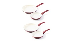 GreenLife Soft Grip 7-Inch and 10-Inch Frypan Set (Burgundy, 2 Sets of Each Pan)