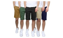 Men's 5-Pocket Flat-Front Stretch Chino Shorts (3-Pack, Size 30-40)