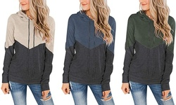 Women's Long Sleeve Color Block Casual Loose Pullover Tops