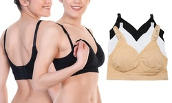 3-Pack Seamless Clip-Down Nursing Bra with Adjustable Back Closure