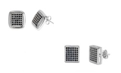 Men's Sterling Silver Square or Button Cut Pave Studs