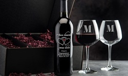 Personalized Wine Bottle & Glass Romance Gift Set (4-Piece) from EtchedWine.com (Up to 62% Off)