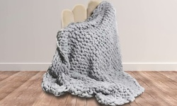 Chunky Knit Throw Blanket Knitted Soft Cozy Polyester Chenille Bulky Blankets