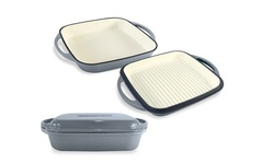 ChefVentions Heavy Duty Gray Enameled Cast Iron Cookware - Multi Use Pans