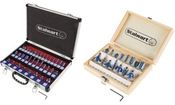 """Router Bit Set- 15 or 35 Piece Kit with 1/4"""" Shank and Storage Case by Stalwart"""