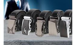 Men's Genuine Leather Automatic Track Sliding Dress Belt by Platinum Hanger