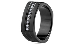 Men's Black Plated Stainless Steel Cubic Zirconia Ring (8mm)
