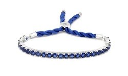 3.55CTW Created Blue Sapphire Cord Adjustable Bracelet By MUIBLU Gems