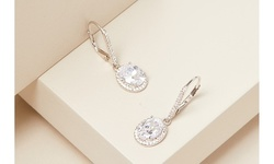 Oval Cut Crystal Leverback Halo Earrings Made With Swarovski Elements