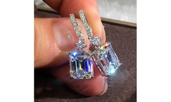 Exquisite 925 Sterling Silver Diamond Crystal Drop Earrings For Women