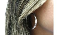 Italian Sterling Silver 40MM Etched Hoop Earrings