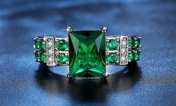 Leo Rosi Emerald Ring In 18K White Gold Filled for Women