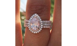 Women's Inlaid Pink Crystal Drop Pear-Shaped Ring Creative Engagement Ring
