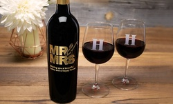 One Etched Wine Bottle or One, Two, Four or Six Etched Monogram Wine Glasses from Etchedwine.com (Up to 66% Off)