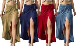 Doublju Women's Tie Waist Flared Wrap Maxi Skirt