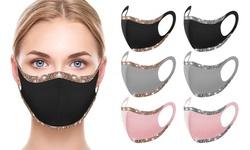 6 Pack : Women's Sparkle Bling Face Mask