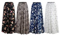 Doublju Women's Flowy Flared Printed Maxi Skirt